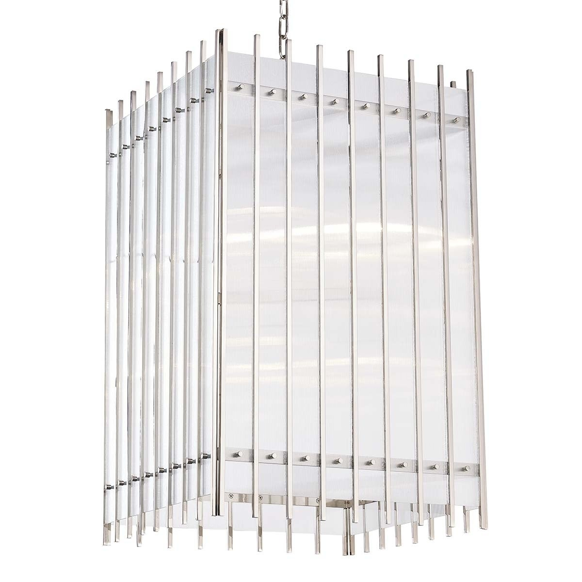 Hudson Valley Wooster 8-light Polished Nickel Large Pendant, Clear Glass Plate
