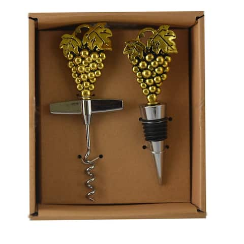 Cork Opener & Stopper Gold Grapes Wine Barware Accessory Gift Set