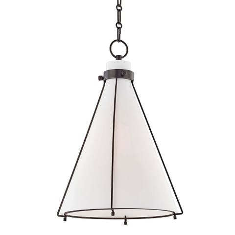 Hudson Valley Eldridge 1-light Old Bronze Pendant, Opal Etched Glass