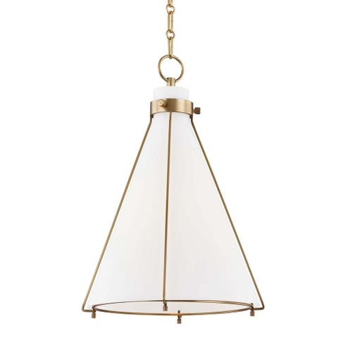 Hudson Valley Eldridge 1-light Aged Brass Pendant, Opal Etched Glass