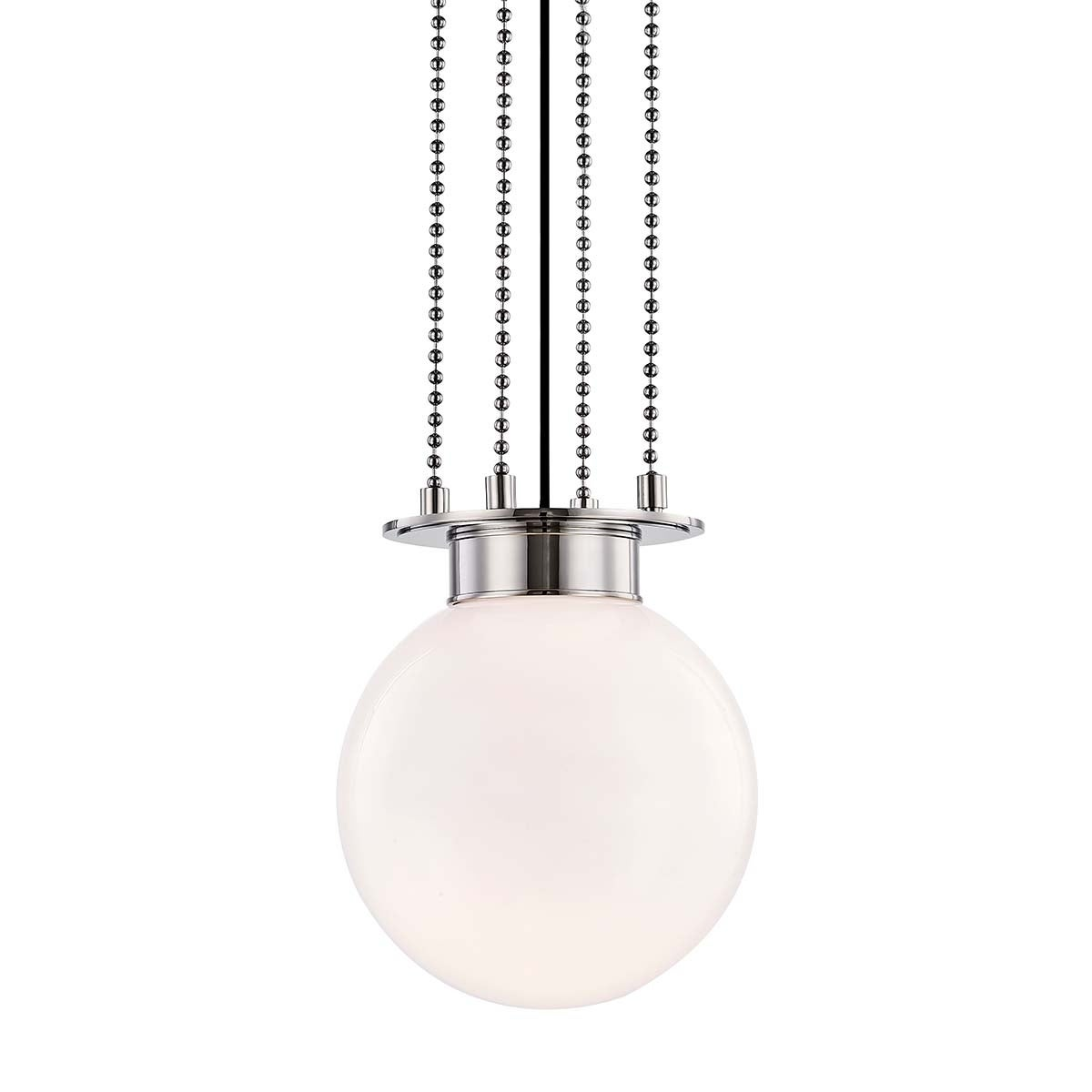 Hudson Valley Gunther 1-light Polished Nickel Small Pendant, White Glass