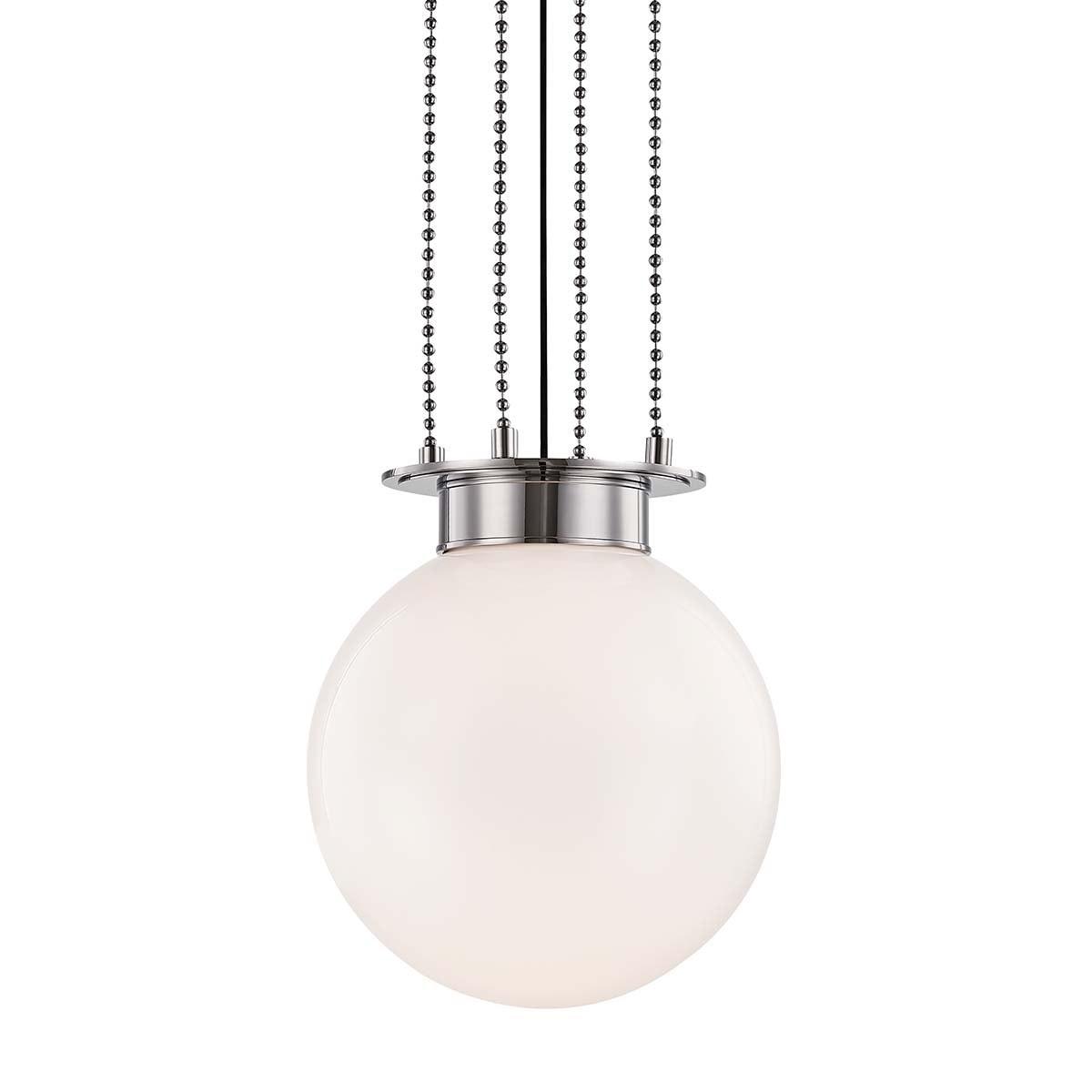 Hudson Valley Gunther 1-light Polished Nickel Medium Pendant, White Glass