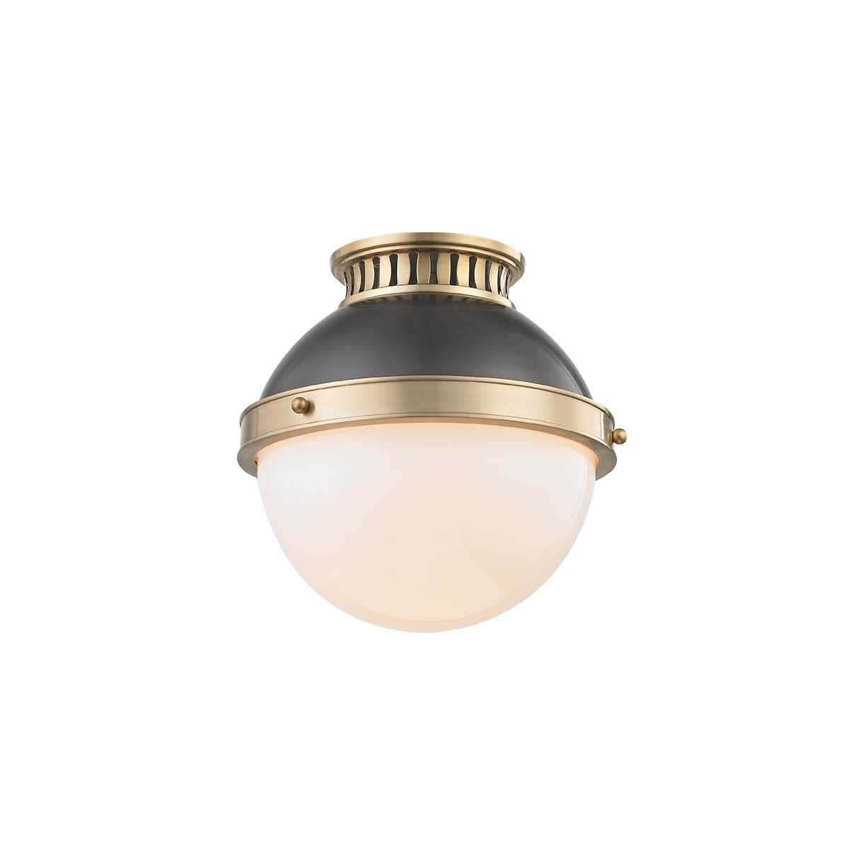 Hudson Valley Latham 1-light Aged and Antique Distressed Bronze Small Flush Mount, Opal Shiny Glass