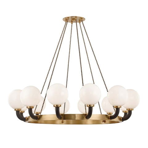 Hudson Valley Werner 12-light Aged Brass and Black Pendant, Opal White Glass