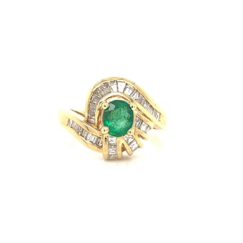 Kabella Emerald and Tapered Diamond Ring Size - 6.25