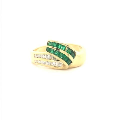 Kabella Square Emerald and Diamond Swoosh Ring