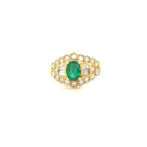 Kabella Emerald and Diamond Vintage Ring Size - 6.75
