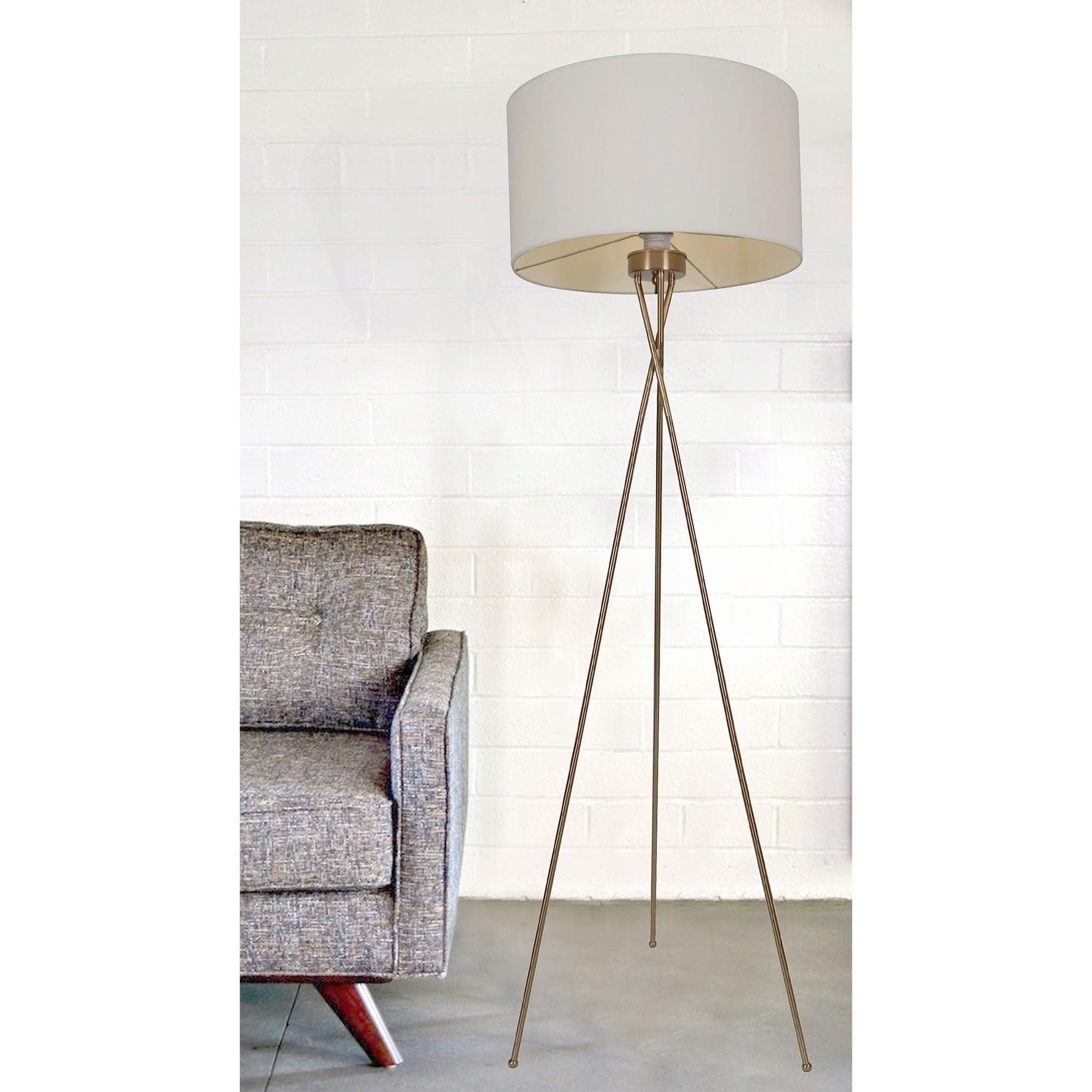 Meela Polished Brass 1-light Floor Lamp