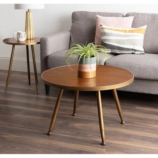 Kate and Laurel Clegg Brown Wood and Metal Coffee Table