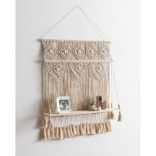 Kate and Laurel Macrame Tapestry Cotton Fabric/Wood Hanging Shelf