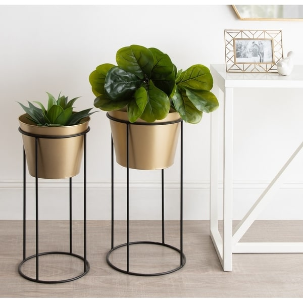 Kate and Laurel Sheely Metal Planter Stands with Pots - 2 Piece