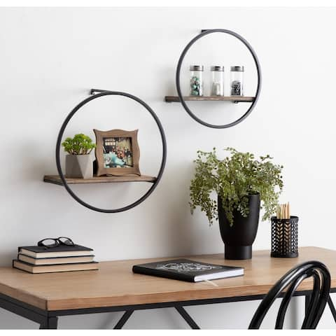 Kate and Laurel Wicks Round Floating Wall Shelf