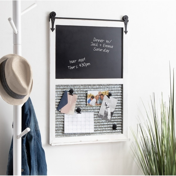 Kate and Laurel Cates Barn Door Wood-framed 21.5-inch x 32-inch Wall Organizer