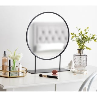 Kate and Laurel Rouen Round Metal Table Mirror - 18 x 22