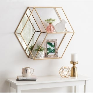 Kate and Laurel Lintz Hexagon Shelves with Mirror