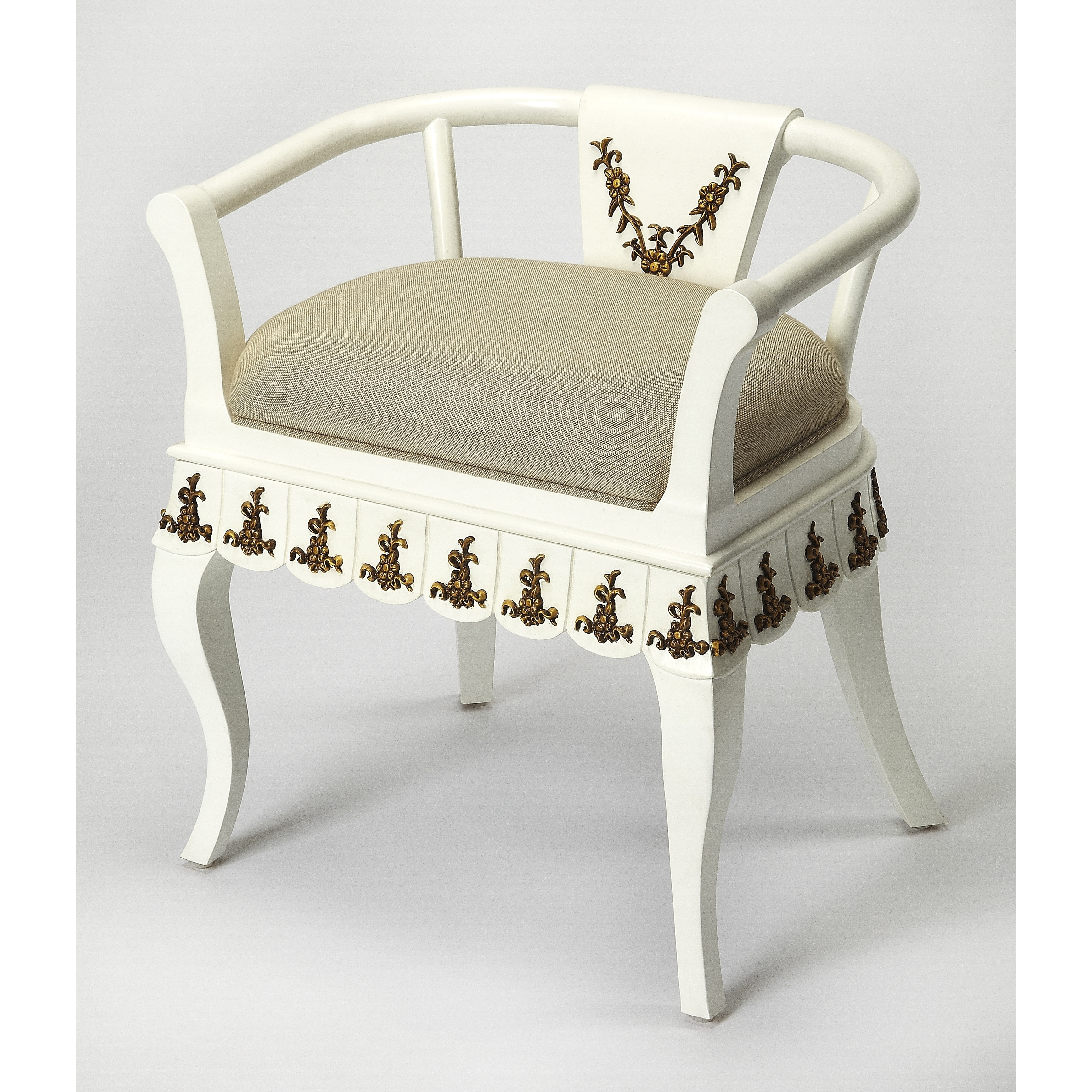 Handmade Linor White And Gold Vanity Chair Indonesia On Sale Overstock 28126397