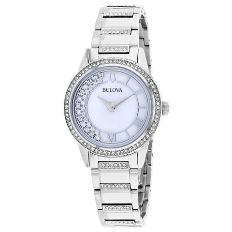 Bulova Womens 96L257 Turnstyle Stainless Crystal Accent Bracelet Watch - Silvertone