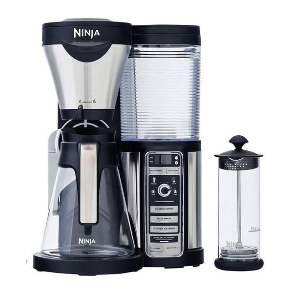 Ninja Coffee Bar Brewer, 43oz Glass Carafe w/ Milk Frother, Black/Chrome (CF081) (Certified Refurbished)
