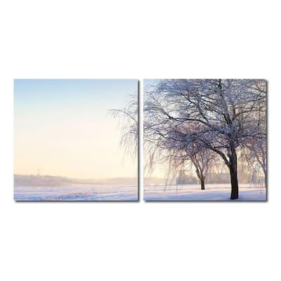 SNOWY SOLITUDE Frameless Canvas Wall Art - Multi