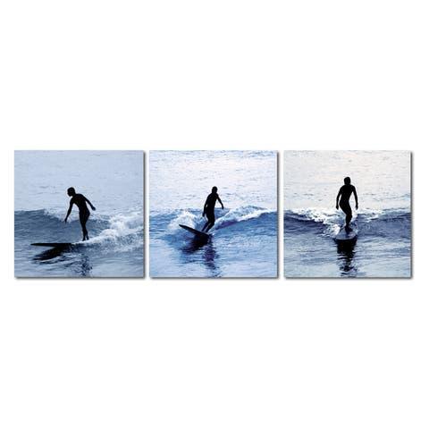 SURF SILHOUETTES Frameless Canvas Wall Art - Multi