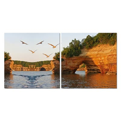 STONE ARCHES Frameless Canvas Wall Art - Multi