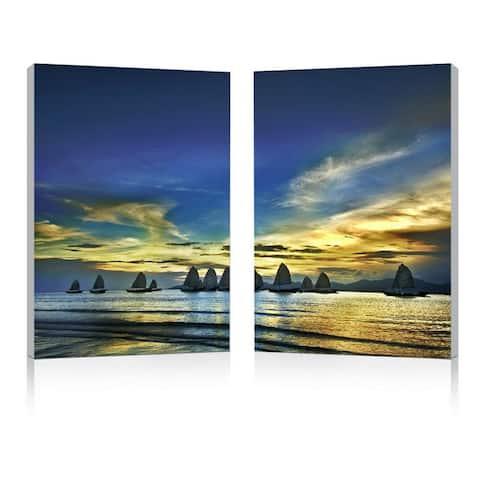SUNSET SAILS Frameless Canvas Wall Art - Multi