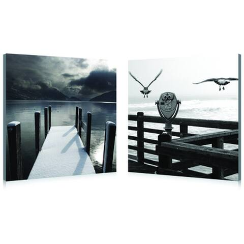 LAKE LOOKOUT Frameless Canvas Wall Art - Black&White