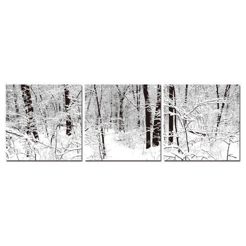 WINTER WOODS Frameless Canvas Wall Art - Black&White
