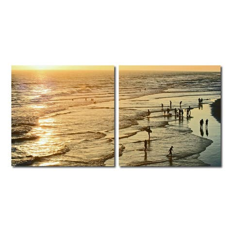 WADING IN THE WAVES Frameless Canvas Wall Art - Multi