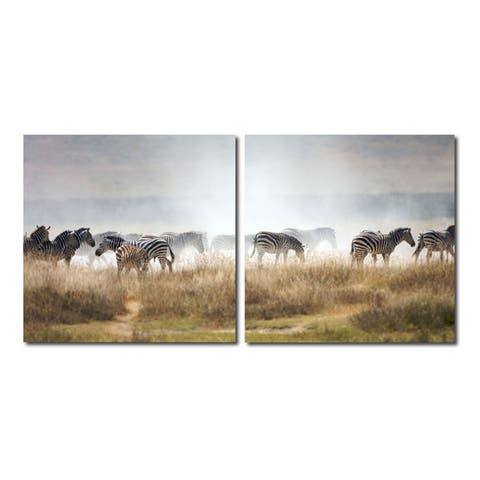 A ZEAL OF ZEBRAS Frameless Canvas Wall Art - Multi