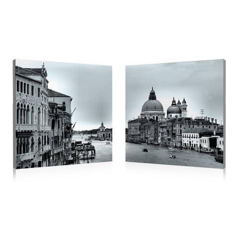 TIMELESS VENICE Frameless Canvas Wall Art - Black&White