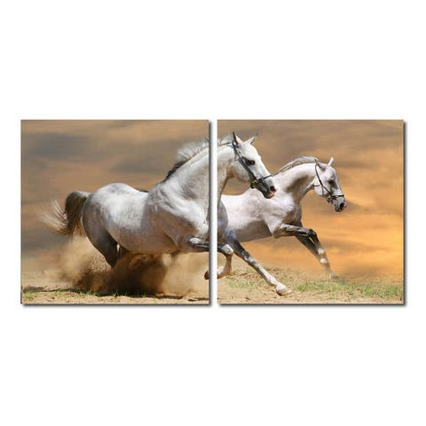 GALLOPING GRANDEUR Frameless Canvas Wall Art - Multi