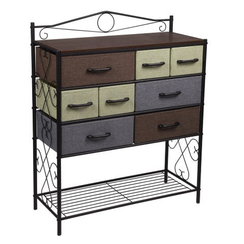 Household Essentials Victorian 8-Drawer Chest Storage Dresser or Entryway Table Black