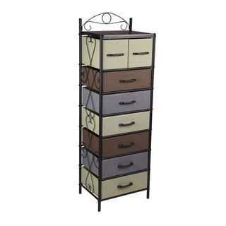 Household Essentials Victorian 8 Drawer Tower | Storage Dresser or Chest | Black