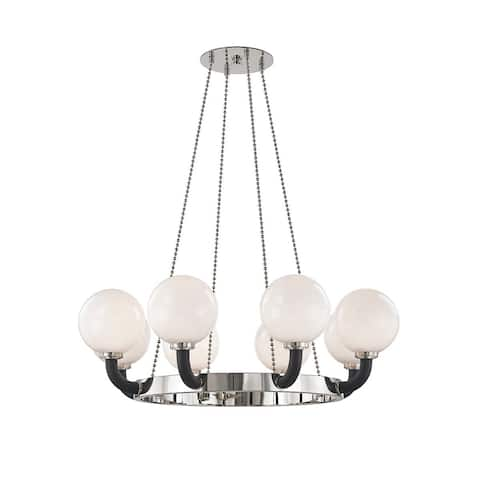 Hudson Valley Werner 8-light Polished Nickel and Black Pendant, Opal White Glass