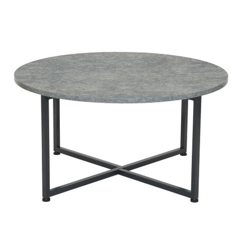 Household Essentials Round Gray Coffee Table, Grey Slate