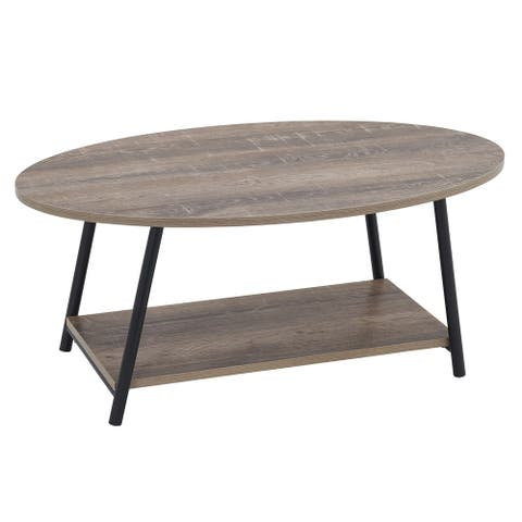 Household Essentials Oval 2 Tier Coffee Table, Ashwood