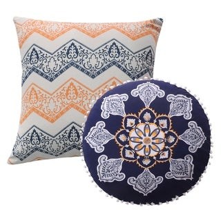 Greenland Home Fashions Medina Multicolored Cotton Pillow Set (Set of 2)