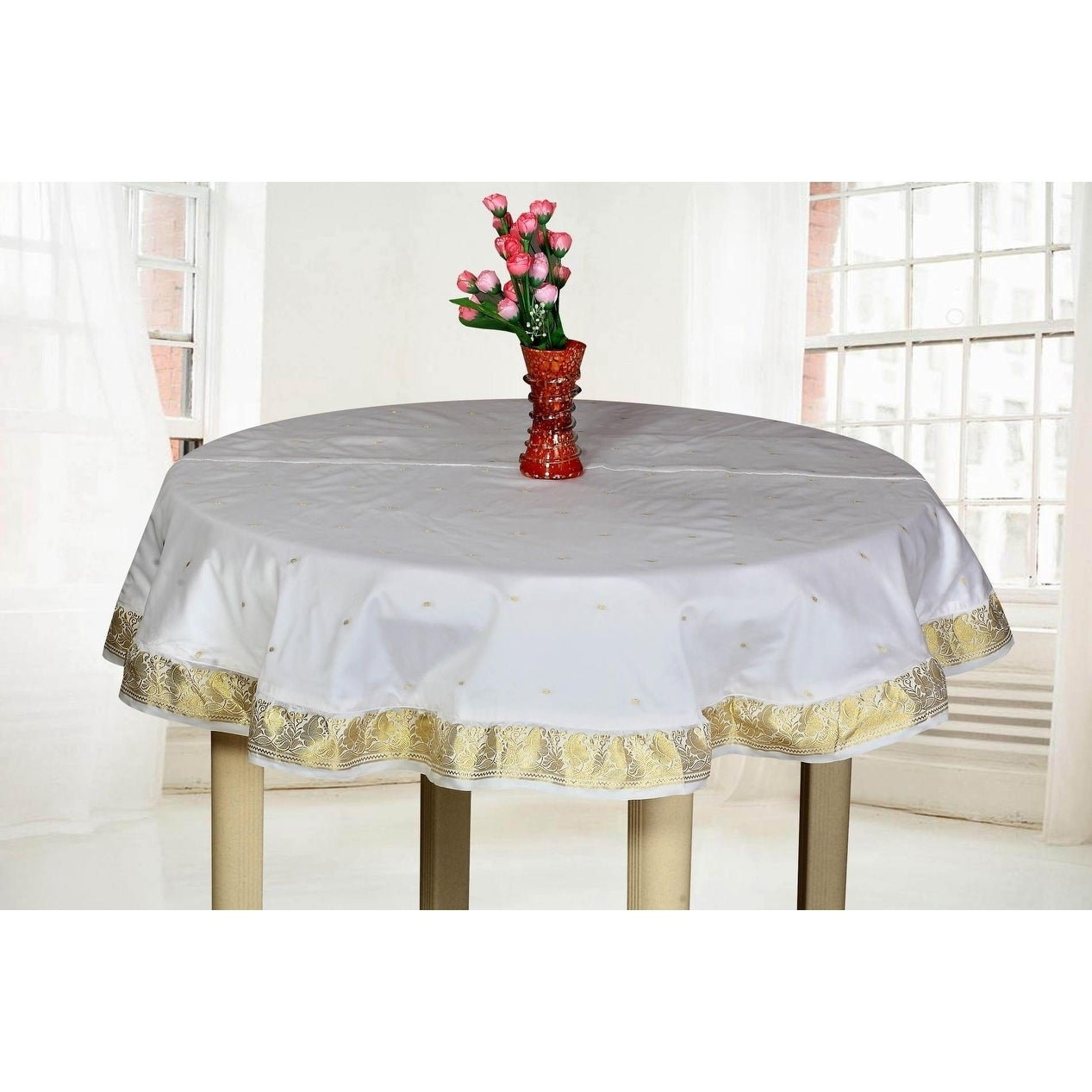 White Gold - Handmade Sari Tablecloth (India) - Round (60 Inches (152 cms) - Round)