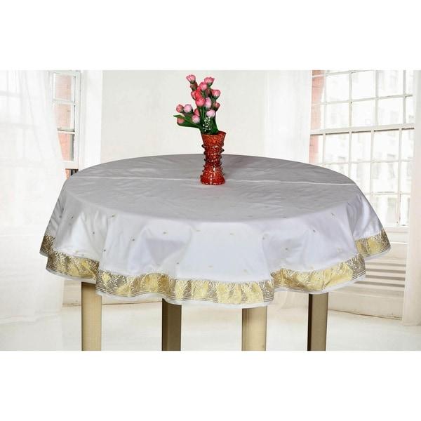 White Gold - Handmade Sari Tablecloth (India) - Round