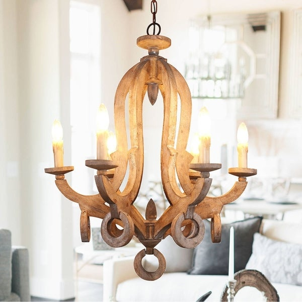 Shabby Chic Candle-style 6-Light Wood Chandelier. Opens flyout.