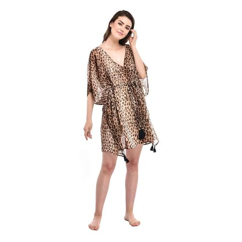 Polyester Beach Swimsuit Cover-up Animal Printed Lightweight Beach Kimono for Woman