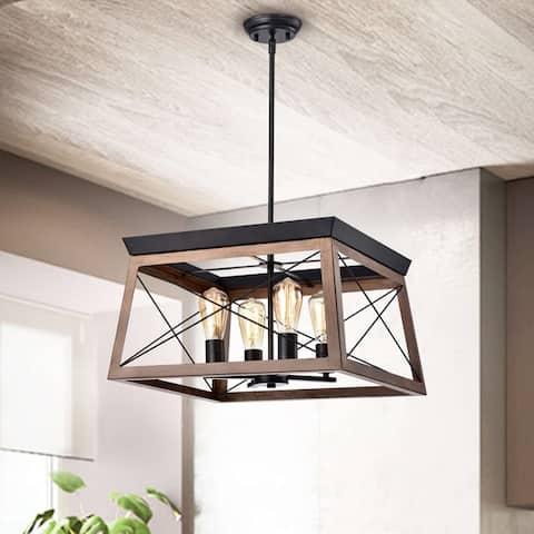 Carlota 4-light Antique Black and Wood-Color Finish Iron Frame Pendant - Antique Black