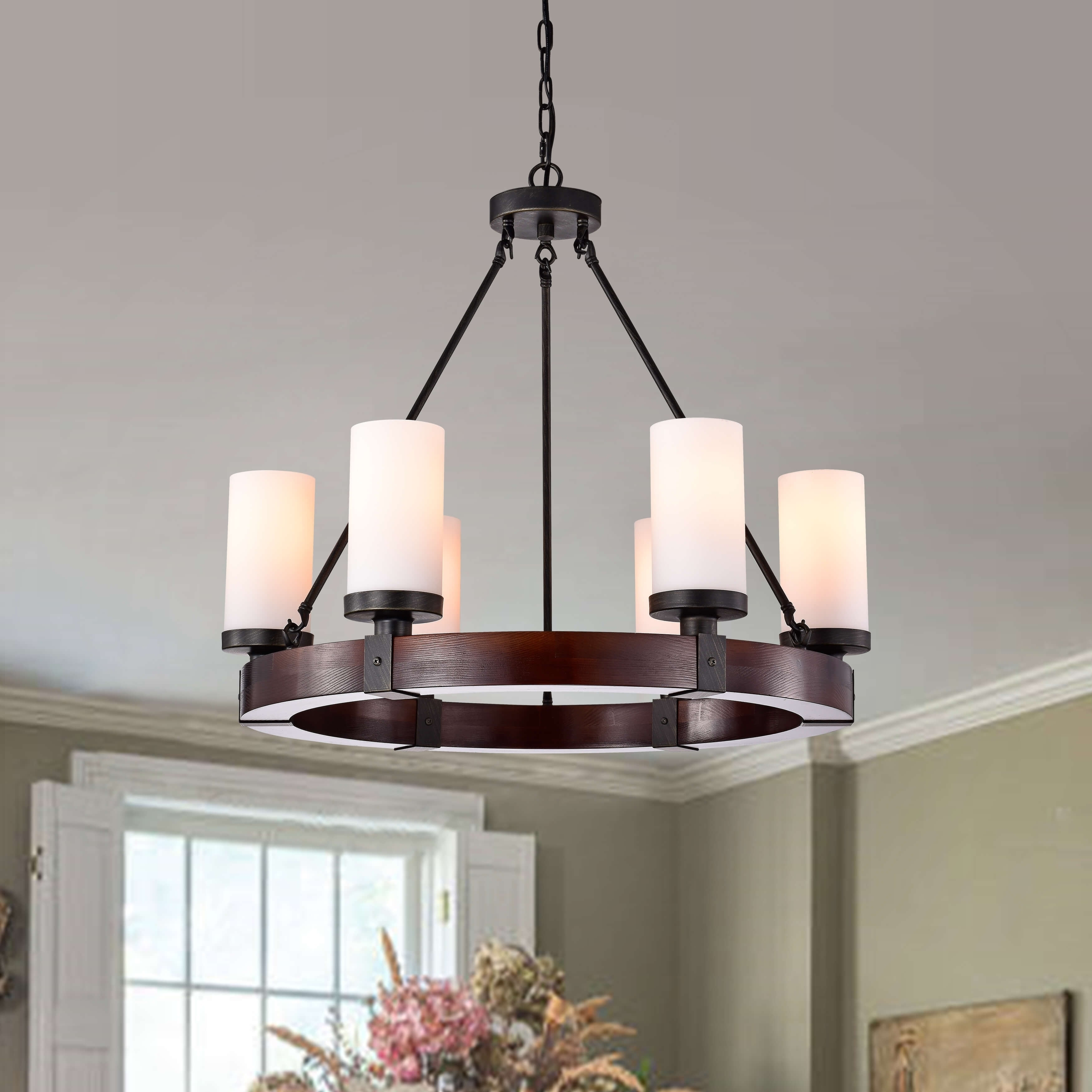 Daniela Antique Black 6-light Round Wood Chandelier with Frosted Glass (Pine)