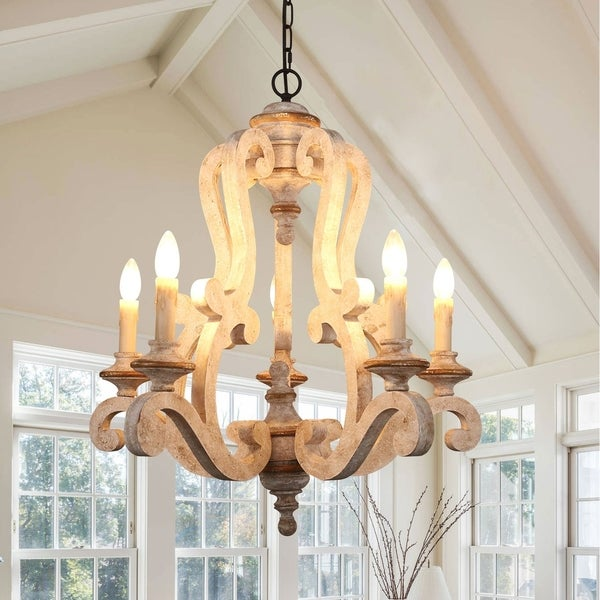 Antique 5-Light Wooden Candle Chandelier, Distressed White. Opens flyout.
