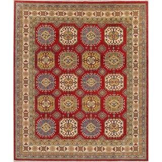 "Traditional Oriental Kazak Pakistani Hand-Knotted Wool Area Rug - 9'10"" x 8'4"""