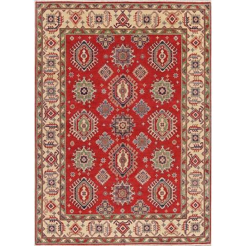 """Pakistani Vegetable Dye Chechen-Kazak Hand-Knotted Wool Rug - 7'11"""" x 5'8"""""""