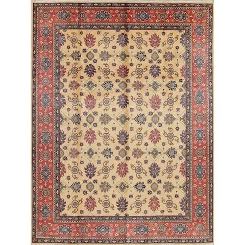 "Traditional Pakistan Oriental Wool Chechen-Kazak Hand-Knotted Area Rug - 12'2"" x 8'11"""