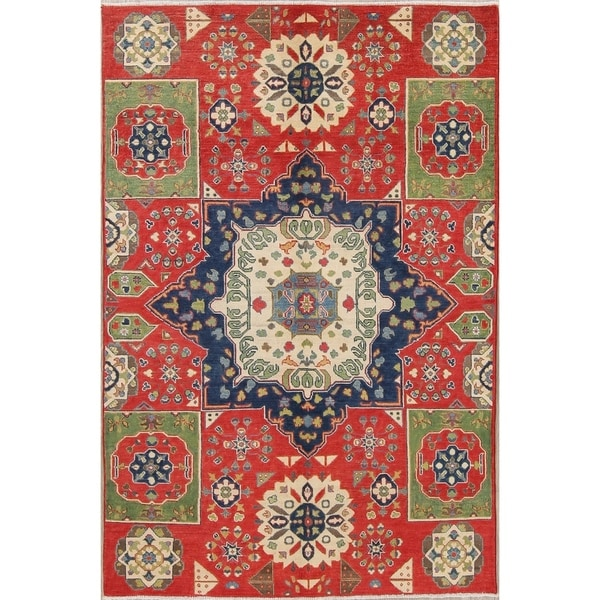 """Traditional Kazak-Chechen Hand Knotted Pakistan Oriental Area Rug - 8'0"""" x 5'6"""""""