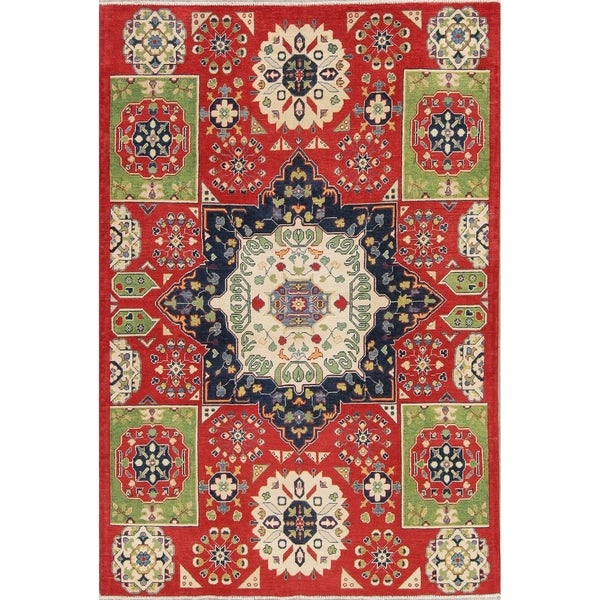 "Tradtional Pakistan Kazak Hand-Knotted Wool Oriental Area Rug - 9'0"" x 6'1"""